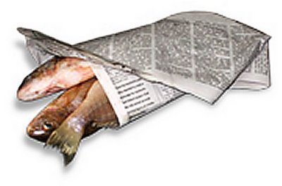 Newspaper wrapping fish