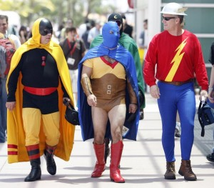 Visitors dressed as DC Comics' (L to R) Hourman, Atom and Flash walk during the 40th annual Comic Con Convention in San Diego July 24, 2009. The convention runs from July 23 to July 26. (REUTERS/Mario Anzuoni)