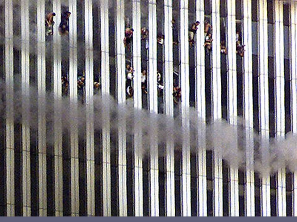 The trapped leaning out of WTC windows