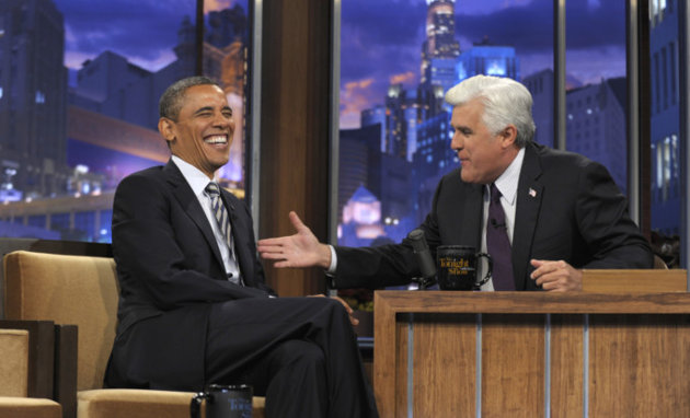 President Obama in between segments of an interview with Jay Leno on Oct. 25, 2011. (AP/Susan Walsh)