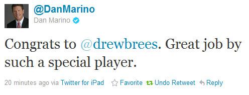 Drew Brees gets Marino's record