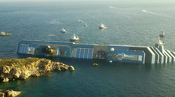 Cruise ship in Med runs aground, flips on side, 3 dead, many missing (UPDATED)(AGAIN)