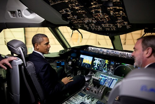 President Barack Obama sits in the cockpit of a 767 during his tour of the Boeing Plant production facility in Everett, Wash., Feb. 17, 2012. (Official White House Photo by Pete Souza)