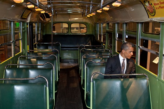 President Barack Obama sits on the famed Rosa Parks bus at the Henry Ford Museum following an event in Dearborn, Mich., April 18, 2012. (Official White House Photo by Pete Souza)