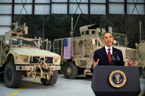 President Barack Obama addresses the nation from Bagram Air Field, Afghanistan, May 1, 2012. (Official White House Photo by Pete Souza)