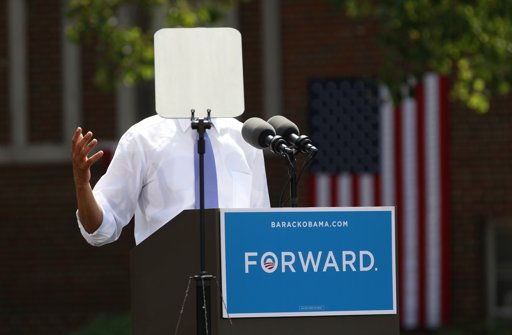 REFILE - CORRECTING LOCATION A teleprompter obscures U.S. President Barack Obama as he speaks during a campaign event at Capital University in Columbus, Ohio August 21, 2012. Obama is on a two-day campaign trip to Ohio, Nevada and New York. REUTERS/Kevin Lamarque (UNITED STATES - Tags: POLITICS ELECTIONS)