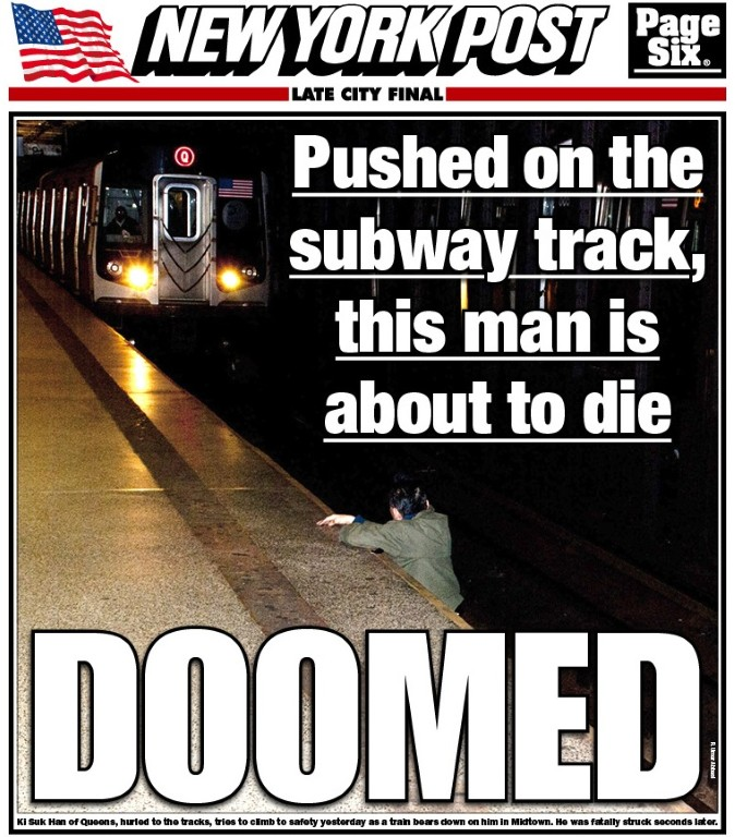 New York Post Cover Photo Shows Man About To Get Hit By Train