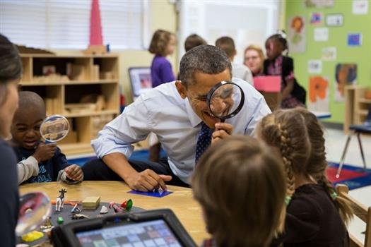 President Barack Obama visits a pre-kindergarten classroom at the College Heights Early Childhood Learning Center in Decatur, Ga., Feb. 14, 2013. (Official White House Photo by Pete Souza)