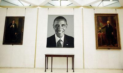 Arrogance: Obama Unveils New Portrait that is Dozens of Times Larger Than Washington's & Lincoln's