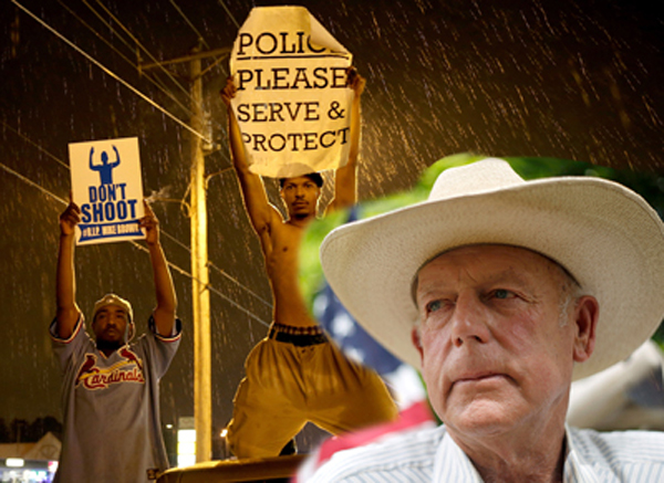 Note the Difference Between Bundy Ranch Protest and Ferguson Riots
