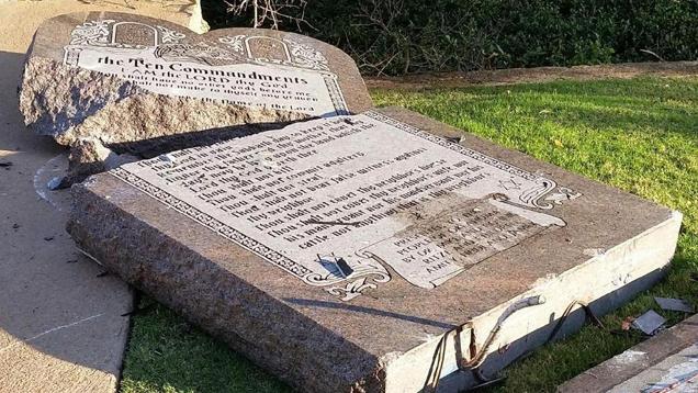 Oklahoma Ten Commandments Monument Toppled; ACLU, Satanic Temple Hardest Hit