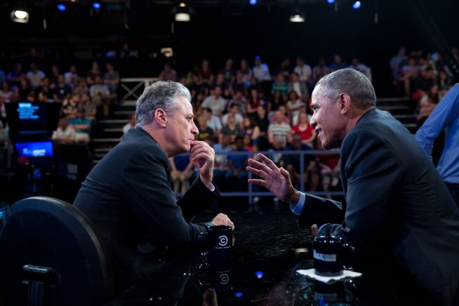 President Barack Obama talks with Jon Stewart between segments of The Daily Show with Jon Stewart in New York, N.Y., July 21, 2105. (Official White House Photo by Pete Souza)