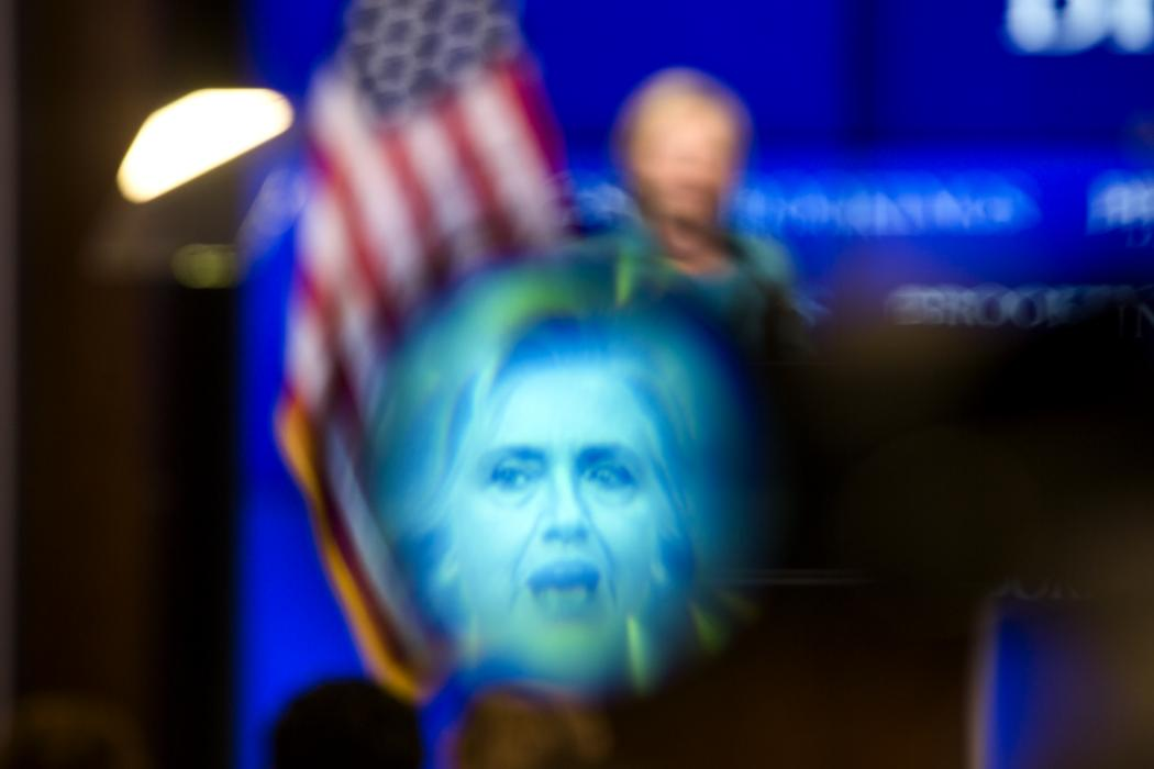 Former Secretary of State Hillary Clinton, seen on stage and in a TV camera's viewfinder, details her support for the Iran Nuclear Agreement during a speech at the Brookings Institute in Washington, DC, September 9 2015. President Obama has already secured commitments from enough Senators to sustain a veto should Congress vote to kill the bill. (EPA/JIM LO SCALZO)