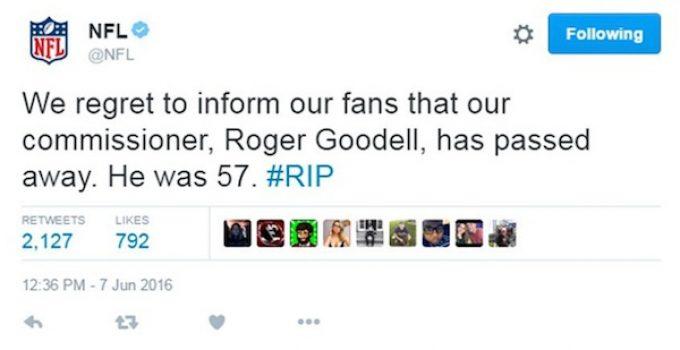 NFL Commissioner Roger Goodell Is Not Dead